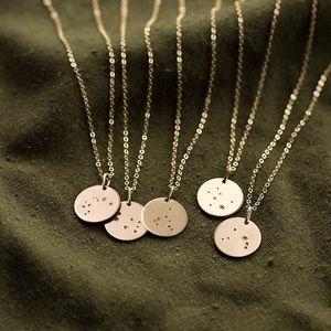 Zodiac Constellation Star Birth Charm Necklace